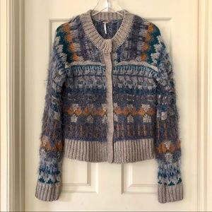 Free People | Nordic Party Blue & Gray Cardigan
